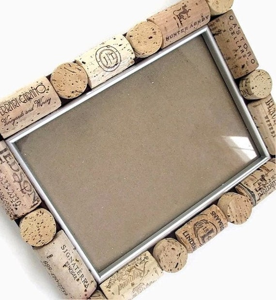 5x7 Wine Cork Embellished Photo Frame by LizzieJoeDesigns on Etsy