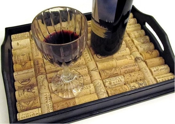 Wine Cork Serving Tray in Black - Wine Lover's Christmas Wedding Birthday Housewarming Hostess Home Decor Gift