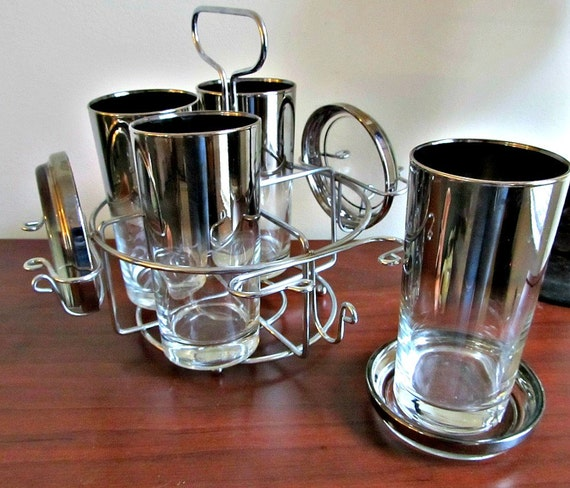 Silver Ombre Glass Set With Caddy
