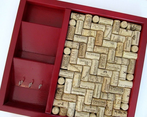 Ruby Red Wine Cork Board and Mail Sorter