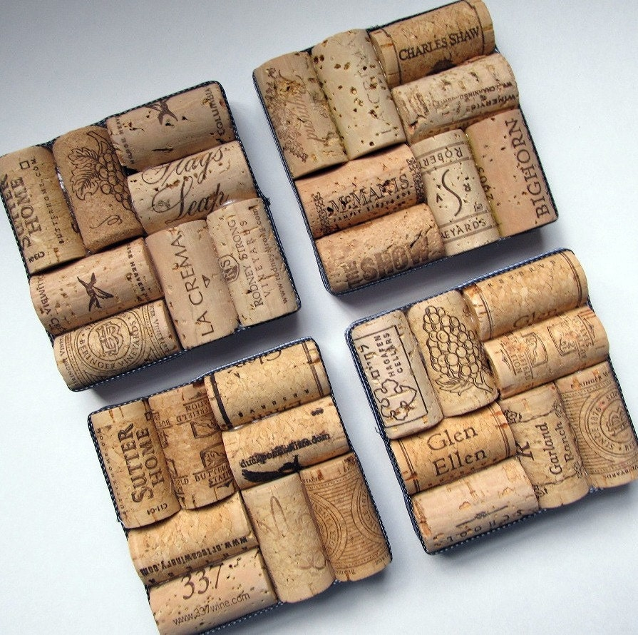 Wine cork coasters with black and white check ribbon set of for Cork coasters for crafts