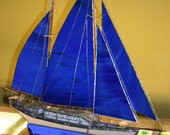 Blue Stained Glass Model Sail Boat Large OOAK