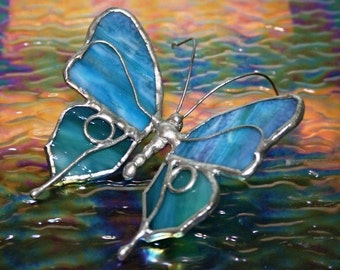Small Blue Stained Glass Butterfly