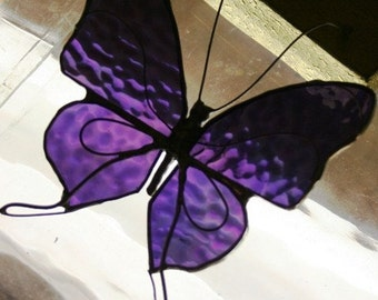 Purple Iridescent  Stained Glass Butterfly