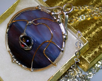 Purple Stained Glass Pendant