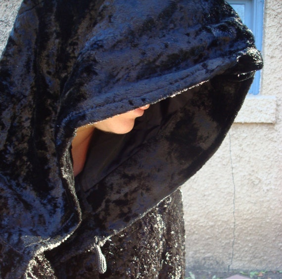Sale - Beautiful Vintage Hooded Black Velvet Cloak