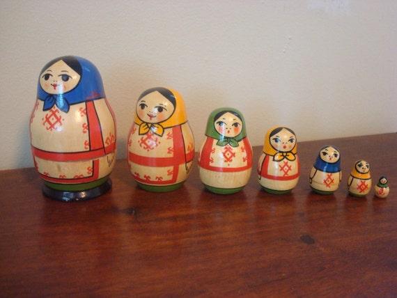 Sale - Seven Whimsical Vintage Matryoshka Nesting Dolls