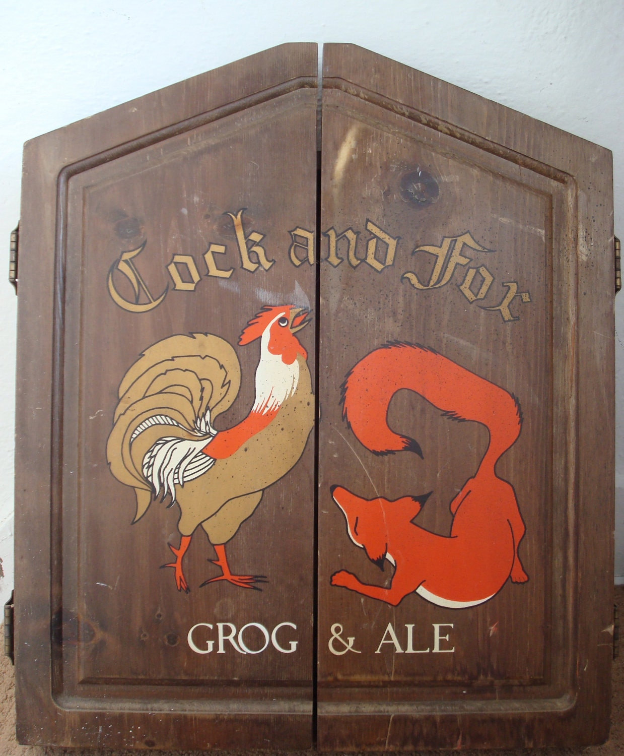The Cock and Fox Grog & Ale Dart Board and Cabinet