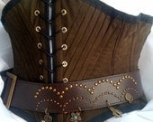 Buccaneer - Tight Cinching Brown Suede Underbust Waist Corset - custom size