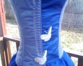 CLEAROUT SALE Blue and Silver Spring Butterflies Corset with Matching Tea Length Skirt - Ready to Ship