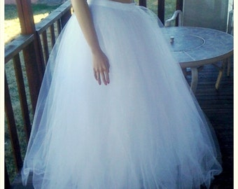 Super Full, Full Length White Sparkle Tulle Skirt - custom size