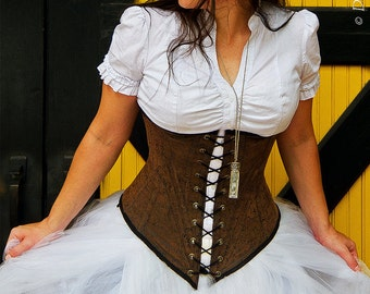 Pirate's Bounty - Underbust Corset in Faux Tooled Leather - custom size