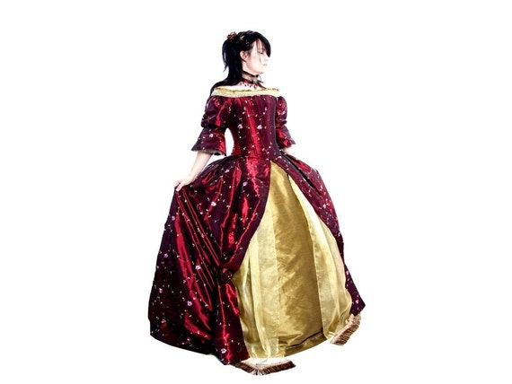 Carmine Fairytale - Iridescent Maroon Satin and Silk Renaissance Gown with Choker and Purse - READY TO SHIP