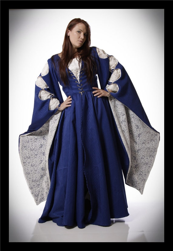 Royally Blue - Romantic Renaissance Medieval Gown with Lace Chemise- size M L- READY TO SHIP