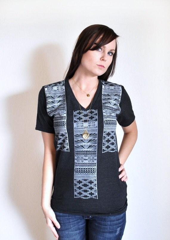 Black Printed V Neck Aztec T Shirt