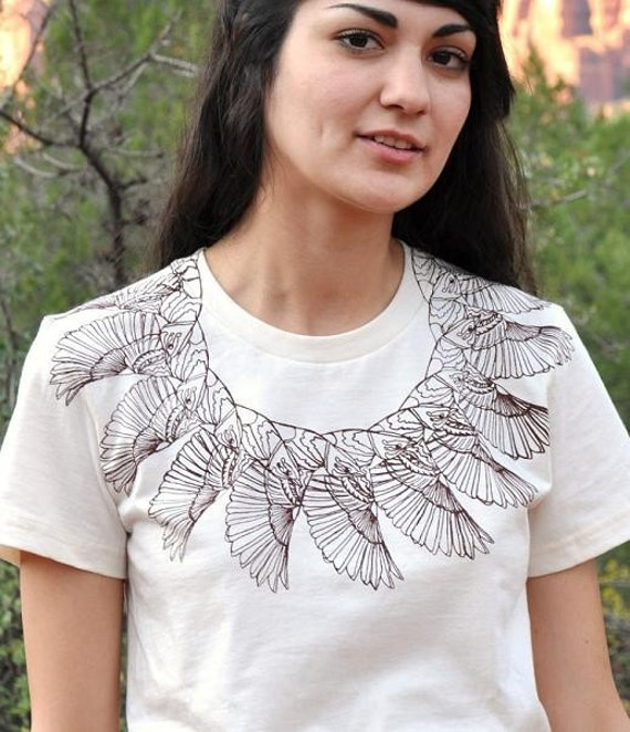 Organic Cotton Printed T-Shirt in Birdwing Collar - Studio Sale