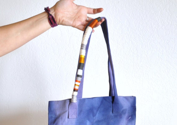 Violet Hand Dyed Color Wrapped Tote Bag