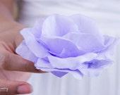 Lilac Silk Crystal Rose Hair Clip