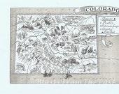 Vintage MAP Colorado, Perfect for Framing, Whimsical, Adorable, Fun, Denver, Aspen, Veil, Skiing, Snowboarding, Pueblo, Breckenridge