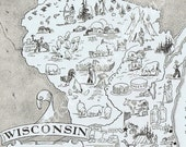Reserved for Kris -- Vintage MAP WISCONSIN