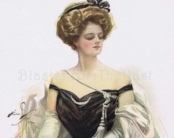 1909 HARRISON FISHER Lithograph 'Lady in Black', American Beauties, Perfect for Framing, Sophisticated, Stunning, Titanic Era, Exquisite