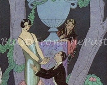 Vintage ART DECO Print, PL 26  'L'avarice (Meanness)' and 'L'envie (Envy)', George Barbier, Fashion, Proposal, Perfect for Framing, Lovers