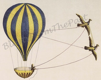 HOT AIR BALLOON Vintage Lithograph, 'Neueste Erfindung', Perfect for Nursery, Kids Room, Stunning, Gorgeous, Classic, Lovely, Hard to Find