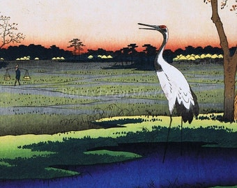 HIROSHIGE 'One Hundred Famous Views of Edo' Print 'Minowa' c.1857, Perfect for Framing, Great for Art Project, Crane, Good Fortune