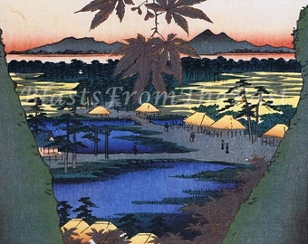 HIROSHIGE 'One Hundred Famous Views of Edo Print 'The Maple Trees at Mama'  c.1857 -- Beautifully Illustrated, Perfect for Framing