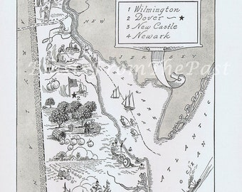 Vintage MAP of DELAWARE, Perfect for Framing, Fun, Charming, Beautifully Illustrated, Dover, Newark, New Castle, Wilmington, Adorable