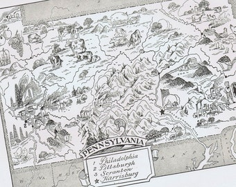 PENNSYLVANIA Vintage Map, Adorable, Beautifully Illustrated, Perfect for Framing, Pittsburgh, Eagles, Phillies, Philadelphia