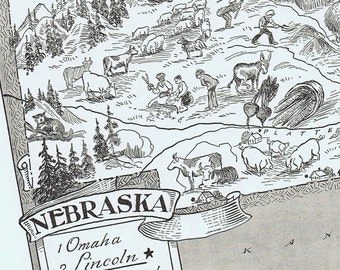 Vintage MAP Nebraska, Adorable, Beautifully Illustrated, Perfect for Framing, Omaha, Grand Island, United States, Atlas, Midwest
