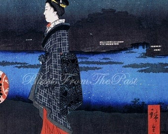 HIROSHIGE 'One Hundred Famous Views of Edo' -Print -- 'Night View of Matsuchiyama and the San 'ya Canal'  c.1857, Zen, Asian, Vivid Colors