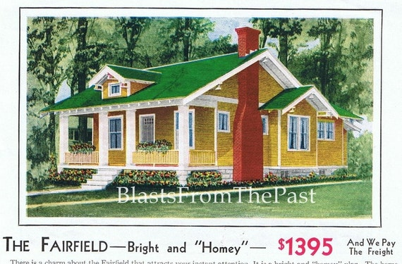 1928 aladdin homes vintage mail order pre cut home print for Pre cut homes