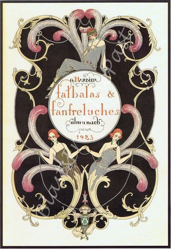 Vintage ART DECO print c.1923 -- 'Falbalas and Fanfreluehes Amanach' Pl 9, Perfect for Framing, Nouveau, George Barbier, Haute Couture