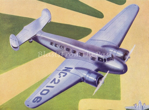 1940s Vintage AIRPLANE Lithograph 'LOCKHEED ELECTRA', Perfect for Framing, Nursery, Boys Room, Office Decor, Pilot