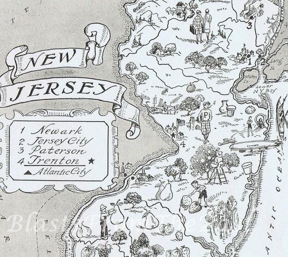 MAP New Jersey Vintage Print, Whimsical, Adorable, Beautifully Illustrated, Perfect for Framing, Atlantic City, Princeton, Neward, Trenton