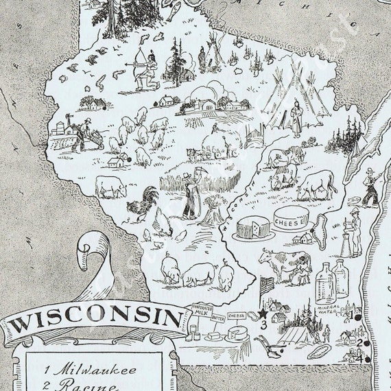 Vintage MAP Wisconsin  -- Adorable, Beautifully Illustrated, Perfect for Framing, Green Bay Packers, Milwaukee, Racine, Cheese Head