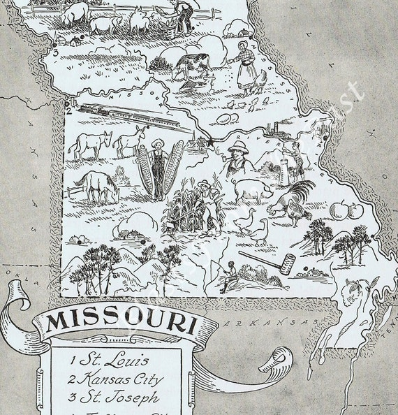 MAP of Missouri Vintage -- Adorable, Beautifully Illustrated, Whimsical, Fun, Funky, Kansas City, St Louis, Show Me State