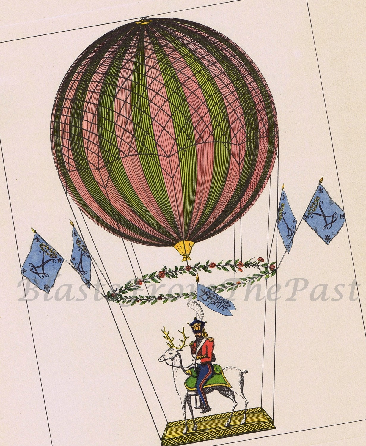 1950s Vintage HOT AIR BALLOON Large Lithograph c.1817