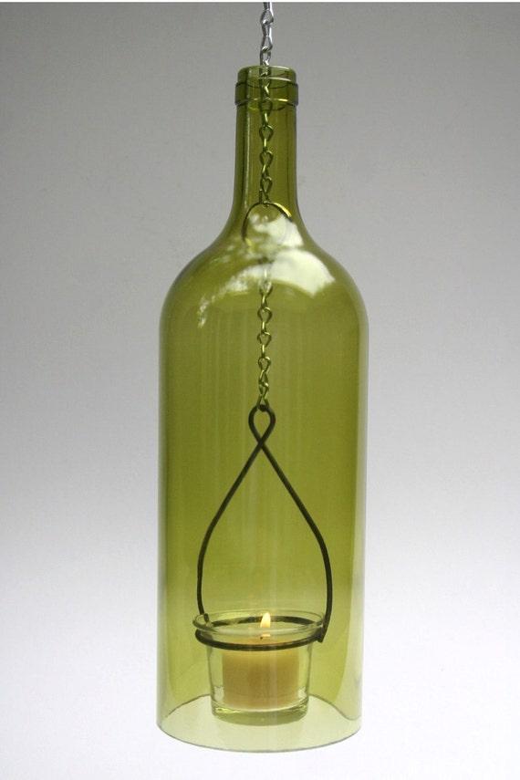 Wine bottle tea light by wynechyme on etsy for Lighted wine bottle craft
