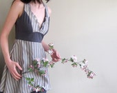 Thundercloud bouquet - romantic striped silk and jersey dress - small