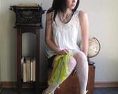Springtime indiscretions - vintage lace collar, pleats, tunic shirt, medium