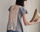 Grey Skies - loose cotton tunic, apricot lace back - small