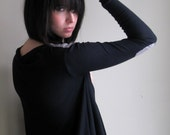 Still Waiting - Black asymmetrical sweater with elbow patches