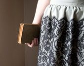 Not so somber bookworm - Pleated black lace skirt, high waist small