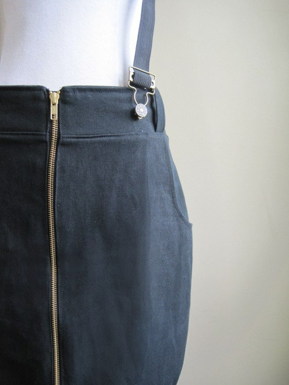Daring skirt with zipper front, suspenders - pencil, high waist - Large