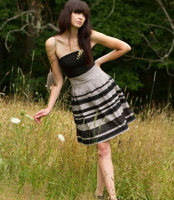 Playful Lace Skirt - pleats, black and grey, high waist - small medium large