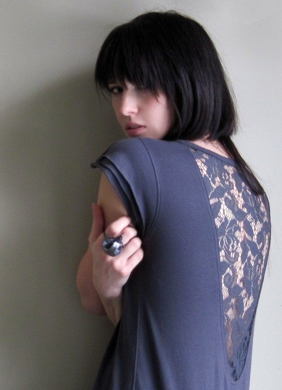 Ill-advised Rendezvous - Steel gray cutout lace shirt ruffle sleeve - small