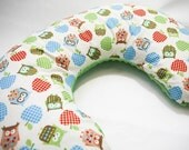 Nursing Pillow Cover - Owls, Apples and Minky